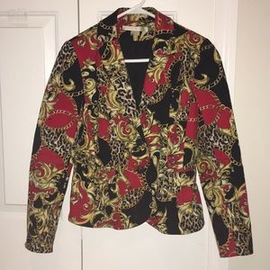 Black, Red & Gold chains blazer